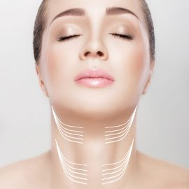 woman with arrows on her neck. lifting concept. correction of double chin
